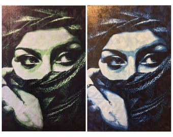 Painting of Suzynola model headscarf spray paint on canvas stencil art