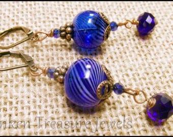 Handblown Blue Art Glass Earrings, Downton Abbey Earrings, Blue Glass Orbs, Art Deco Earrings in Handblown Blue Glass, Sapphire Blue Glass
