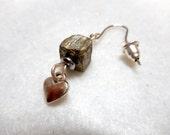 Men's Earring, Heart Earring, Single Earring, Stone Earring, Valentine Earring, Gifts for Him, Earring, Men's Jewelry, Jewelry for Man