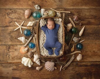 "Digital Backdrop- ""Look what the Tide brought in""- Newborn Prop - Seashells"