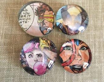 X-Men Comic Magnet Set, Superhero Magnets, Glass Bubble Magnets