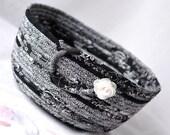 Remote Control Holder, Decorative Black Basket, Handmade Coiled Fabric Basket, Kitchen Bowl, Black and White Home Decor