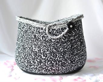 Black Storage Basket, Handmade Coiled Fabric Basket, Lovely Black and White Home Decor, Yarn Holder, Sewing Project Bin
