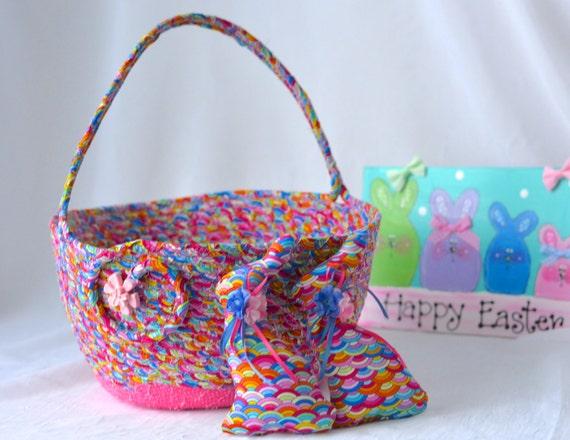 Girl Easter Basket and 2 Matching Easter Bunnies, Handmade Easter Basket, Wedding Basket, Pink Easter Bucket, Flower Girl Basket