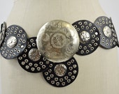 """Vintage Moroccan Belt Black Leather and Silver Stamped Metal Hip Belt Boho Belt Size Medium 37"""" Hip Max"""
