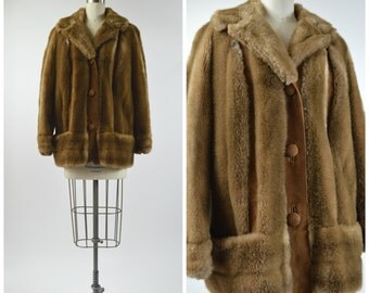 1960s Lilli Ann Coat Brown Faux Fur Jacket with Suede Trim Size Medium