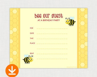 BEE our guest - DIY Fill In Birthday Invitation - Printable Birthday party invite - Instant Download