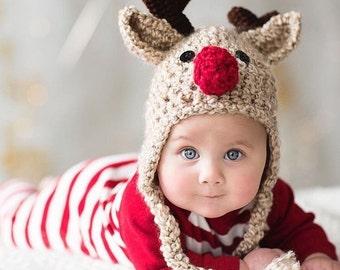 Oatmeal Reindeer Baby Hat - Reindeer Hat - Baby Reindeer Hat - Oatmeal  Reindeer Hat - Christmas Costume  Hat - by JoJosBootique