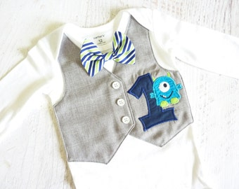 Little Monster First Birthday Tuxedo Bodysuit Vest with Matching Bow Tie