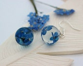 Forget me Not Earrings, Resin Flower Earrings, Blue Flower Earrings, Nature, Botanical, Drop Earrings, Gift for Her, Mothers Day