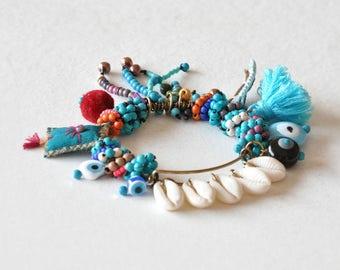 Hippie Gypsy Beaded Bangle,  Tribal Shell Bangle,  Boho Tassel Bracelet, Talisman and Evil Eye Bracelet