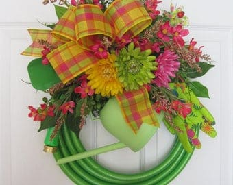 Spring Green Garden Hose Wreath, Mothers Day Wreath, Fun Florals Custom Design, Spring Wreath, Pink, Yellow, Green, Tools, Watering Can