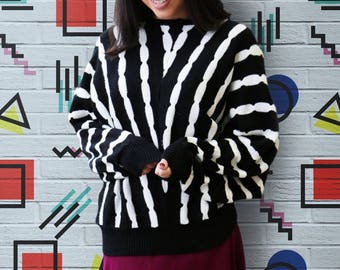 Free Shipping! Vintage 1980s Black and White Wavy Striped Batwing Oversized Cozy Pullover Sweater
