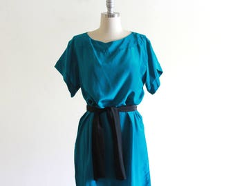 Vintage Silk Teal Dress with Sash / Bullocks / Loose Dress / Minimalist Dress / M