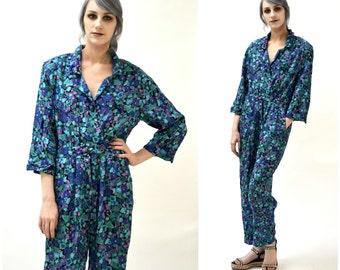 Vintage Diane Von Furstenberg Jumpsuit Size Medium Abstract Print// Blue Printed Jumpsuit Medium By DVF Blue Puprle