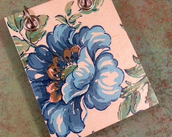 Recycled Notebook - Small Refillable Notepad - Upcycled Vintage Wall Paper - Blue Floral Print - Flower Note Book