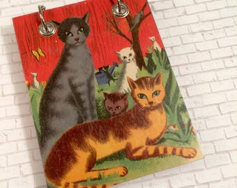 Recycled  Notebook - Cat Notebook - Upcycled Vintage Children's Book - Large Notepad - Refillable Notepad