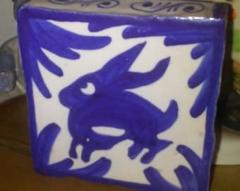 Antique Folk Art Blue And White Bunny Yellow Ware Tile