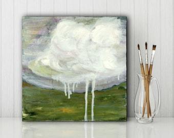 "SALE! Landscape Painting: 8x8"" (20.3 cm) Original Mixed Media Art, Cloud Painting, Impressionist Painting, olive, gray, clouds ""Rain III"""