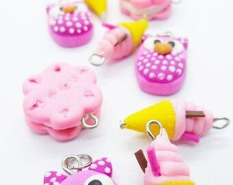 10 Christmas Charms Miniature Polymer Clay Foods Supply for Bead Jewelry
