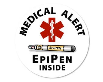 """Medical Alert Epipen Inside - 2""""  Round Window or Bumper Stickers (Choose Pack Size)"""
