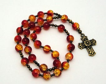 Anglican Rosary / Protestant Prayer Beads in Red / Gold Crackled Glass with Tierracast Pewter Talavera Cross