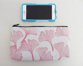 Zipper Clutch or Pouch. Gray and Pink Ginko Leaves Pattern. 8 Inch. Hand Printed. Coin Purse Sunglasses or Pencil Case. Travel Organization.