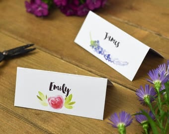 Bright Floral Wedding Name Place Cards - Wedding Name Tags - Rustic Wedding Name Cards - Rustic Wedding Stationery - On the Day Stationery
