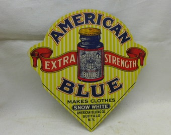 Vintage Advertising Cardboard Sign  - American Blue  - Makes Clothes Snow White - Advertising Sign