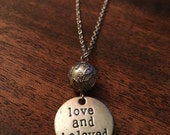 """Necklace - Handmade with Charming Style - Round Charm - Pearl Beads """"Love and Be Loved"""""""