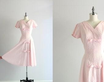 40s Dress . Pink Cotton Dress . Vintage 1940s Dress . Spring Day Dress