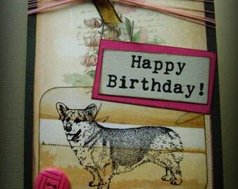Corgi Card, Happy Birthday Card, Pet card, Dog card, Welsh Corgi Birthday greeting, that doggie in the window, Corgi dog birthday card