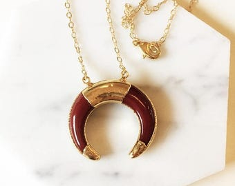 ON SALE Gold Plated Brown Bone Crescent necklae - Boho Necklace, layering necklace