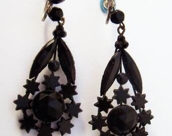 Victorian Jet earrings   stars screwback drop earrings