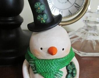 St Patricks SNOWMAN with shamrocks and top hat Janell Berryman Pumpkinseeds folk art originals