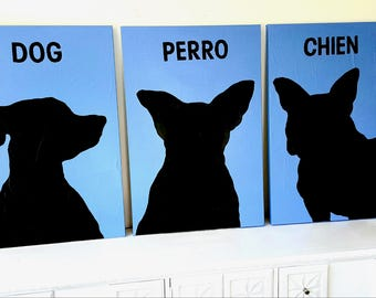 Original 3 Dogs Art-Wall Paintings Triptych