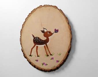Original Deer Painting on Wood - Rustic Woodland Nursery Artwork