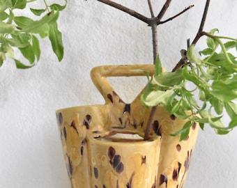 vintage yellow retro ceramic lava speckled flower pot / flower vase / handle