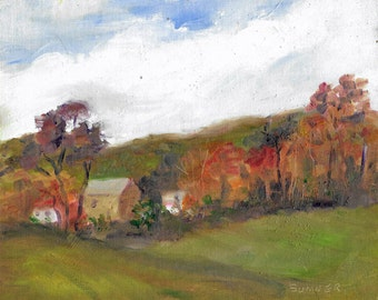 Original impressionistic landscape oil painting 8x10 Distant barns rolling fields autumn trees