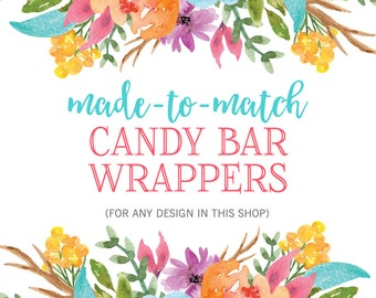 Matching Candy Bar Wrappers, Printable Candy Bar Wrappers, Hershey Bar Wrappers, Baby Shower Candy Bars, Bridal Shower Candy Bars, Printable