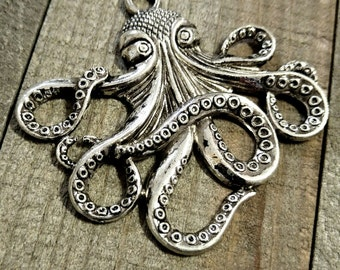Large Octopus Pendants-Nautical Pendants-Steampunk-57mm-Antiqued Silver