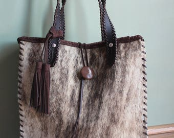 Cowhide Brindle Whipstitch with tassel purse
