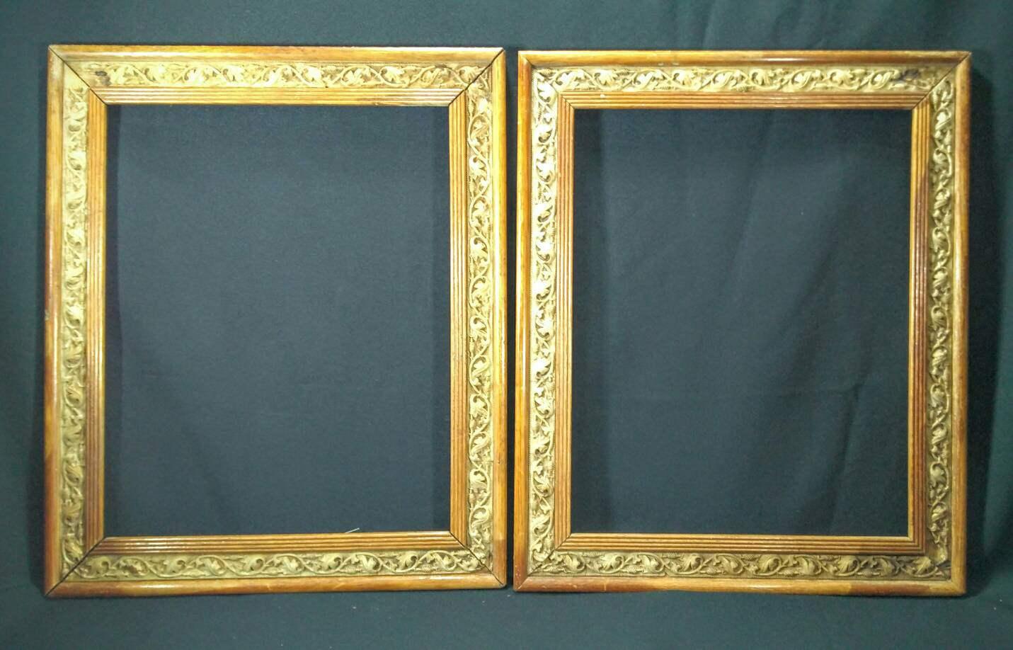 Antique art nouveau pair of light oak picture frames twisted vine sold by antiqueshack jeuxipadfo Gallery