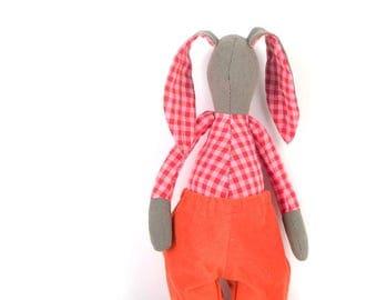 Easter basket , stuffed bunny , stuffed rabbit doll , rabbit plushie , toddler gift , softie toy , handmade doll , ragdoll animal , crib Toy