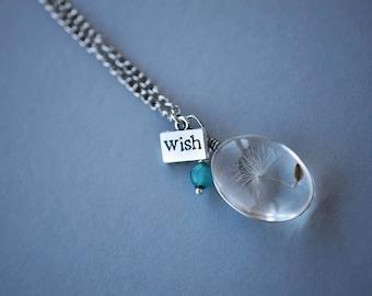 Wish Necklace, Dandelion Necklace, Jade Necklace, Teal Necklace, Glass Flower Necklace, Boho Necklace, SRAJD