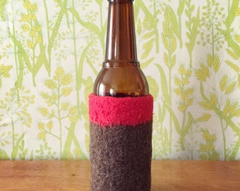 Felted Bottle Cozy - Color Block Collection -Red & Brown