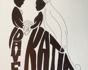 """Wedding GIFT Silhouette Personalized with First, Middle, Last name, Maiden and Married Name on a 11""""X17"""" Gallery Wrapped Canvas hand drawn"""