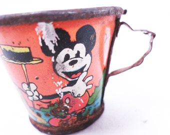 Toy Mickey Mouse Tin Cup Vintage 30s