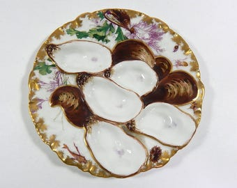 Rare French Antique Limoges Hand Painted 'Turkey' Oyster Plate by Haviland c. 1876 to 1889