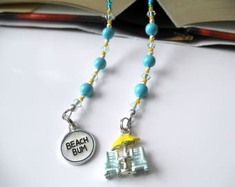 Beach Bum Beaded Book Thong - Blue Turquoise Bookmark - Beach Chairs Bookmark, Beach Bookmark, Umbrella Bookmark, Swarovski Crystal Bookmark